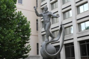 A copy of the statue outside the school near Moscow where Gagarin trained in foundry work