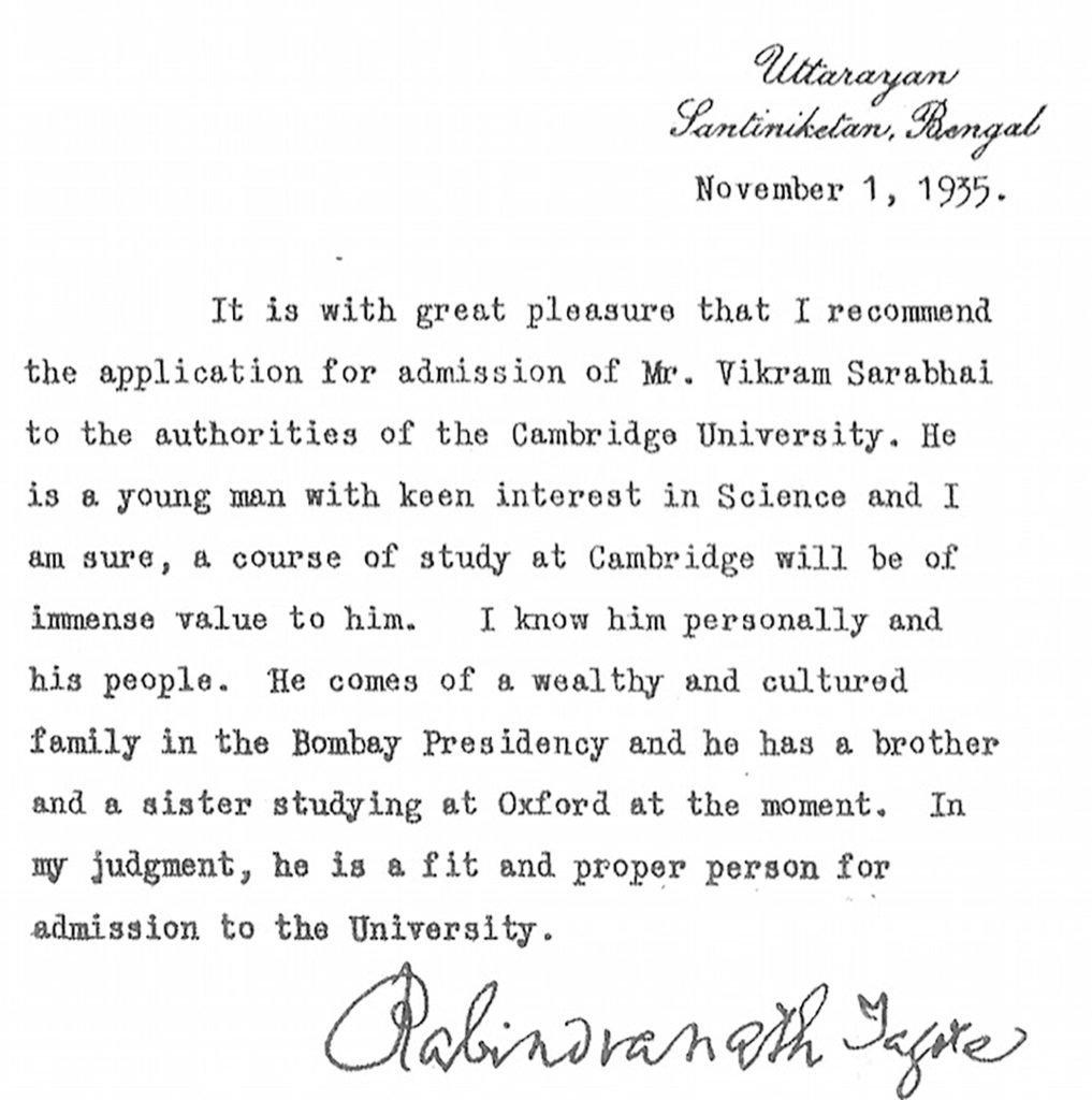 Vikram Sarabhai Letter of recommendation for University of Cambridge